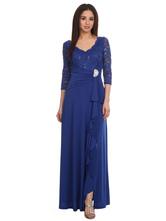Синее праздничное платье для матери невесты с v-образным вырезом и половиной рукавов трапециевидной формы кружевное шифоновое плиссированное свадебное платье для гостей