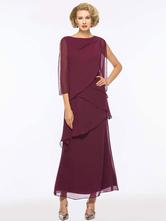 Бордовое праздничное платье для матери невесты, длинное шифоновое шифоновое платье трапециевидной формы с вырезом и жемчугом и длинными рукавами