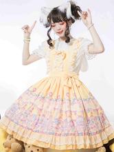 Sweet Lolita JSK Dress Yellow Polyester Sleeveless Sweet Lolita One Piece Dress
