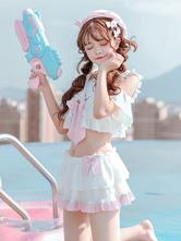Sweet Lolita Swimsuit Outfits Pink Bows Short Sleeves Top Ruffles Skirt2-Piece Set