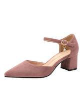 Женские туфли на среднем низком каблуке с острым носком, без шнуровки на массивном каблуке, фантастические металлические детали, замшевая кожа, мягкие розовые туфли