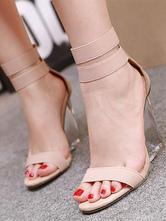 Женские босоножки на танкетке с абрикосом и открытым носком из искусственной кожи на летнем каблуке до щиколотки