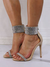 Сандалии на высоком каблуке Светло-абрикосовая искусственная кожа с открытым носком и стразами Вечерние туфли Обувь для вечеринок