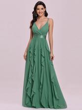 Vestido de formatura verde com decote em V sem mangas faixa sem encosto até o chão vestidos de casamento de chiffon para convidados