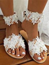 Свадебные туфли Белые цветы из искусственной кожи с открытым носком на плоской подошве для новобрачных