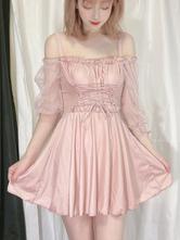 甘いロリータ水着衣装ピンクレースアップ長袖ポリエステルロリータワンピースドレス