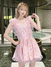 甘いロリータ水着衣装ピンクのアニマルプリントノースリーブワンピースドレス水着