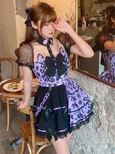 甘いロリータ衣装パープルチェック柄ボウフリル半袖アイドル服ロリータジャンパースカート衣装