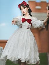 甘いロリータOPドレス長袖蝶結びレースアップフリルカジュアルロリータワンピースドレス