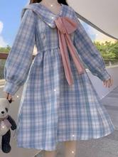 甘いロリータOPドレスポリエステル長袖ボウチェック柄カジュアルロリータワンピースドレス