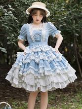 甘いロリータOPドレスライトスカイブルー半袖フリルレースコットンロリータワンピースドレス