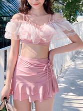Sweet Lolita Swimming Outfits Pink Lace Up Sleeveless PantsTop 2-Piece Set