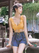 Sweet Lolita Swimming Outfits Yellow Ruffles Plaid Sleeveless TopPants 2-Piece Set