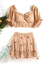 Sweet Lolita Swimming Outfits Apricot Lace RufflesLace Short Sleeves TopPants 2-Piece Set