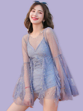 Sweet Lolita Swimming Outfits Blue RufflesLace UpLace Glitter Long Sleeves Cover-UpJumpsuit 2-Piece Set