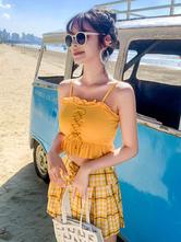 Sweet Lolita Swimming Outfits Yellow RufflesBows Bow Sleeveless PantsTop 2-Piece Set