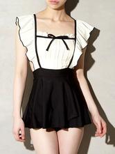 Sweet Lolita Outfits Black BowsRuffles Bow Sleeveless Lolita Swimming Suit