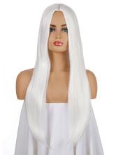 Parrucca lunga per donna Parrucca sintetica lunga arruffata bianca in fibra resistente al calore