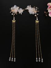 Chinese style Lolita Headdress Pink Metal FringeFlowers Sakura Pattern Head Flower Accessory Lolita Hair Accessories