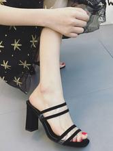 Sapatilhas de couro PU com salto quadrado preto dedo quadrado preto salto robusto e chinelos de salto alto