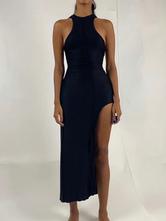 Abito da club per donna Abito lungo sexy asimmetrico in lycra spandex con scollo a gioiello nero con spacco sul davanti senza maniche