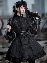 Chinese Style Lolita OP Dress Black Long Sleeve Ruffles Polyester Gothic Lolita One Piece Dress