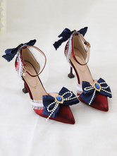 Sweet Lolita Heels Deep Blue BowLace Rhinestones Pointed Toe Nubuck Lolita Ankle Strap Heels