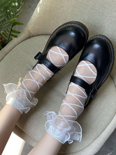 White Sweet Lolita Socks Ruffles Accessory Tulle Stripes Lolita Accessories