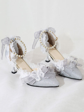 Sweet Lolita Ankle Strap Heel Butterfly PatternLace ButterflyPearls Pointed Toe Monogram Suede Sliver Lolita Shoes
