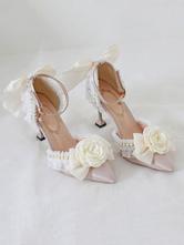 Sweet Lolita Ankle Strap Heel Ecru White FlowersPearls Lace Nubuck Stiletto Heel Lolita Shoes
