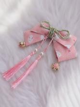 Wa Lolita Headdress Pink Linen Cotton Blend FringeBowsFlowers Sakura PatternAnimal Print Headwear Lolita Headband