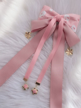 Wa Lolita Headdress Pink Linen Cotton Blend BowsFlowers Sakura PatternBow Headwear Lolita Hair Accessories