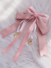 Wa Lolita Headdress Pink Sakura PatternBow Linen Cotton Blend Headwear BowsFlowers Lolita Hair Accessories