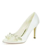 Scarpe da sposa raso avorio scarpe a punta fiori tacco a spillo scarpe da sposa