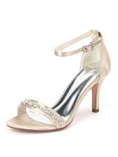 Scarpe da sposa Satin Champagne Open Toe Strass Tacco a spillo Cinturino alla caviglia Scarpe da sposa Bridal