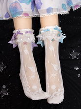 Sweet Lolita Socks White Lace Bows Polyester Bow Lolita Accessories