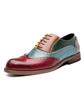 Men Shoes Fashion Round Toe Strap Adjustable PU Leather Oxfords Brogues Shoes Wingtips Shoes