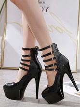 Женские сексуальные туфли на высоком каблуке, черные туфли с круглым носком и пряжкой, сексуальные туфли на шпильках, высокие каблуки с ремешком на щиколотке, каблуки
