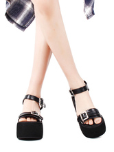 Steampunk Lolita Sandals Open Toe PU Leather Black Lolita Summer Shoes
