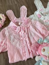 Sweet Lolita Blouses Pink Long Sleeves Lace Lolita Top Bow Lolita Shirt