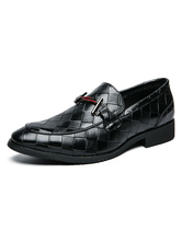 Men Dress Shoes Stylish Round Toe Slip-On PU Leather Shoes
