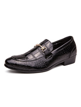Dress Shoes For Men Modern Round Toe Monk Strap Slip-On Black PU Leather Shoes