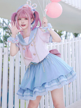 Idolclothes Lolita Outfit Blue Lace Up Grommets Bows Chains Polyester Lolita Sailor Clothing 2-Piece Set
