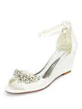 Scarpe da sposa Avorio Raso Perle Punta aperta Cinturino alla caviglia Zeppa Scarpe da sposa