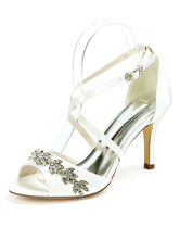 Wedding Shoes Satin Ivory Open Toe Rhinestones Stiletto Heel Ankle Strap Heel Bridal Shoes
