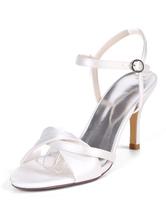 Scarpe da sposa in raso bianco punta aperta tacco a spillo scarpe da sposa tacchi cinturino alla caviglia Ankle