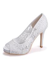 Scarpe da sposa Pizzo Bianco Peep Toe Tacco a spillo Scarpe da sposa