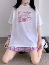 Lolita Blouse For Women White Polyester Jewel Short Sleeves Lolita T-Shirt