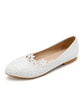 Wedding Shoes White PU Leather Flowers Pointed Toe Flat Bridal Shoes