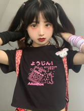 Lolita Blouse For Women Jewel Neck Short Sleeves Black Polyester T-Shirt